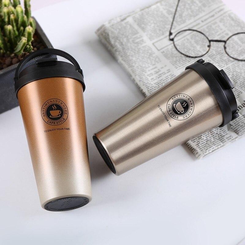 2018 frascos de vacío de doble pared de acero inoxidable 500ml termo taza café té leche Taza de Viaje botella termo