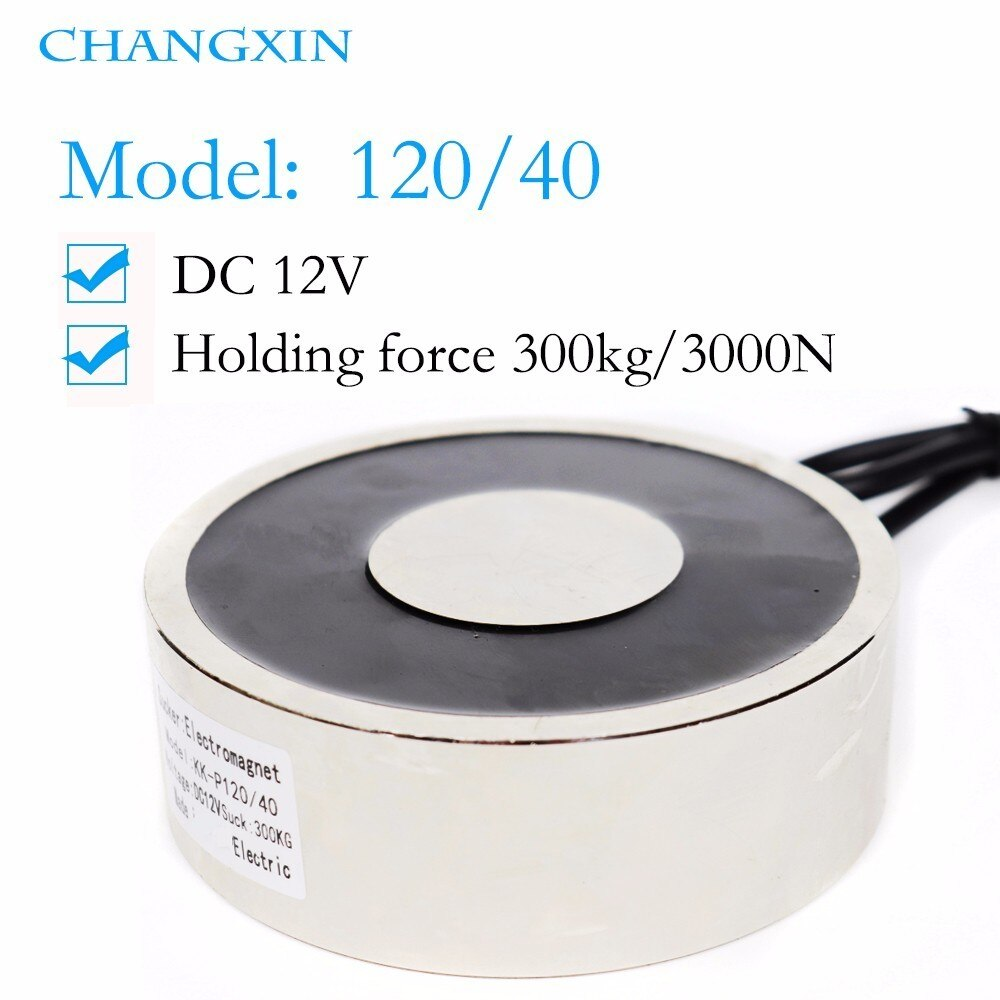 120*40mm Gran succión 300kg Dc 6 v/12 v/24 v Gran electroimán electromagnético de elevación eléctrica Electro fuerte