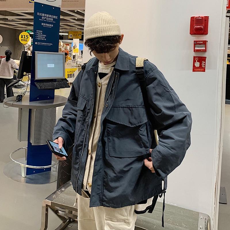 2019 Japanese Style Mens Military Zipper Work Clothes Streetwear Bomber Jacket Loose Outerwear Coat Green/blue Windbreaker