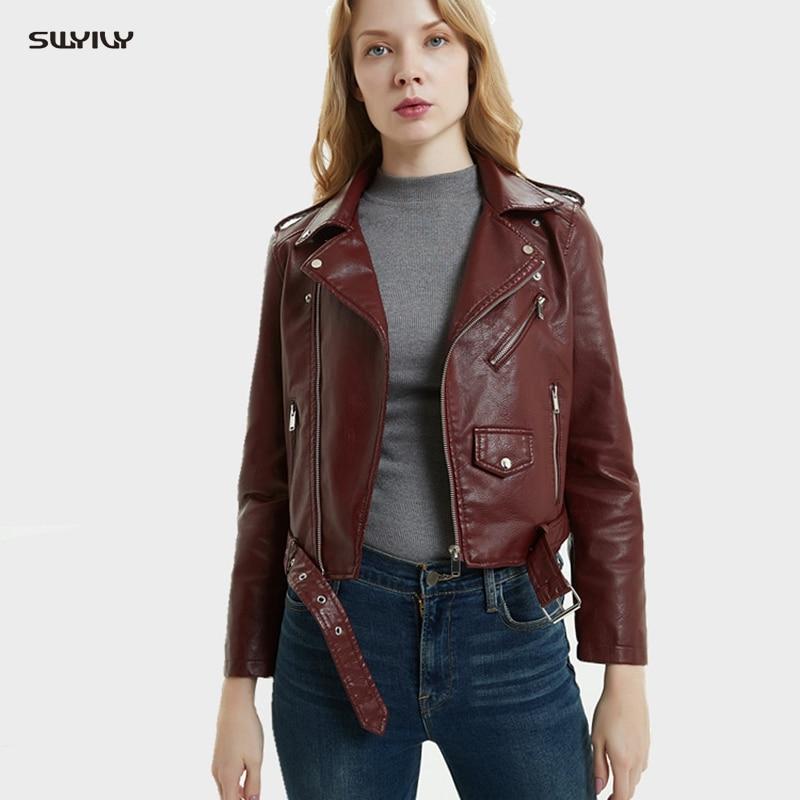 Женская куртка SWYIVY, пальто из искусственной кожи карамельных цветов, короткие дизайнерские женские повседневные куртки, черные осенние вес...