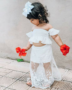 2Pcs Toddler Kid Baby Girl White Lace Floral Tops Casual Off Shoulder Long Skirt Outfits Set Clothes