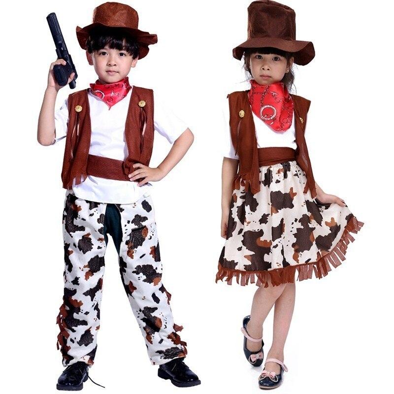 Traje de Halloween Para Crianças Menina Menino Cosplay Conjunto Carnival Cowboy Cowgirl Ocidental Da América Dress Up Masquerade Roupas