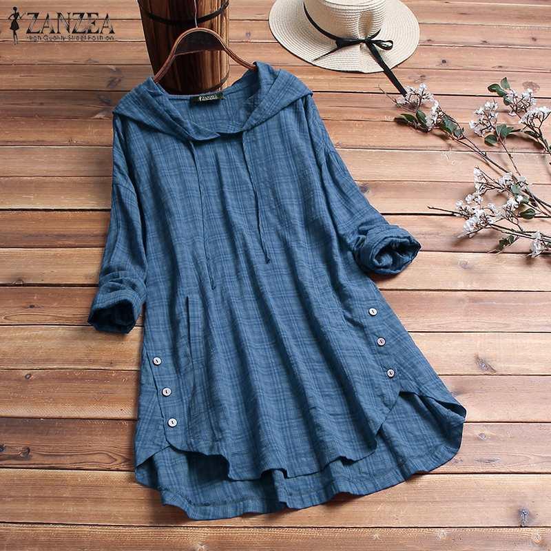 2020 ZANZEA blusa de Primavera de talla grande para mujeres Casual con capucha de manga larga a cuadros suelta para fiesta túnica Tops camisa mujer túnica