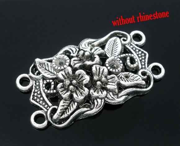 DoreenBeads 10 шт Серебряный цвет 4 отверстия цветок Шарм соединители бусины для DIY Изготовление браслета ожерелья ручной работы