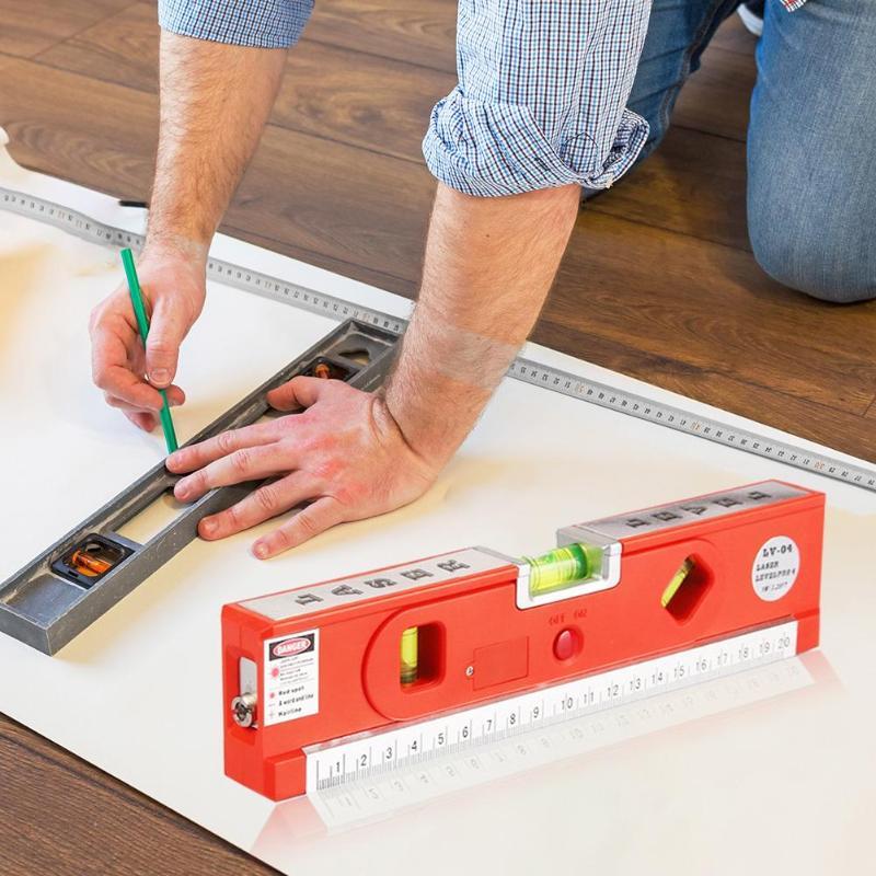 Laser Level Rule ABS Measuring Tape 3 Line Modes Spirit Horizontal Vertical