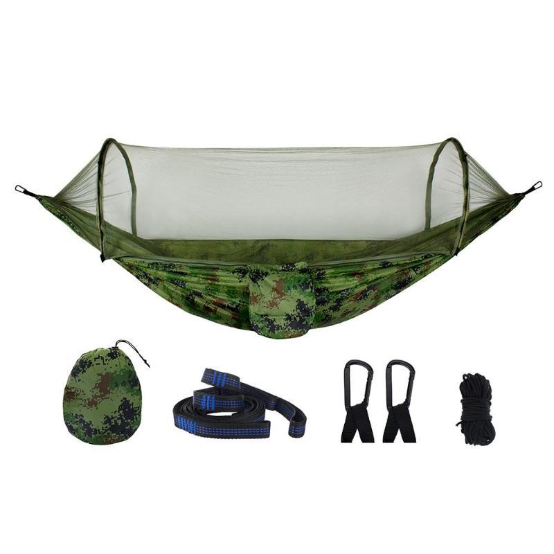Hamaca portátil para Exteriores de 1-2 personas con mosquitera tela de paracaídas colgante de camping cama caza columpio cama para dormir