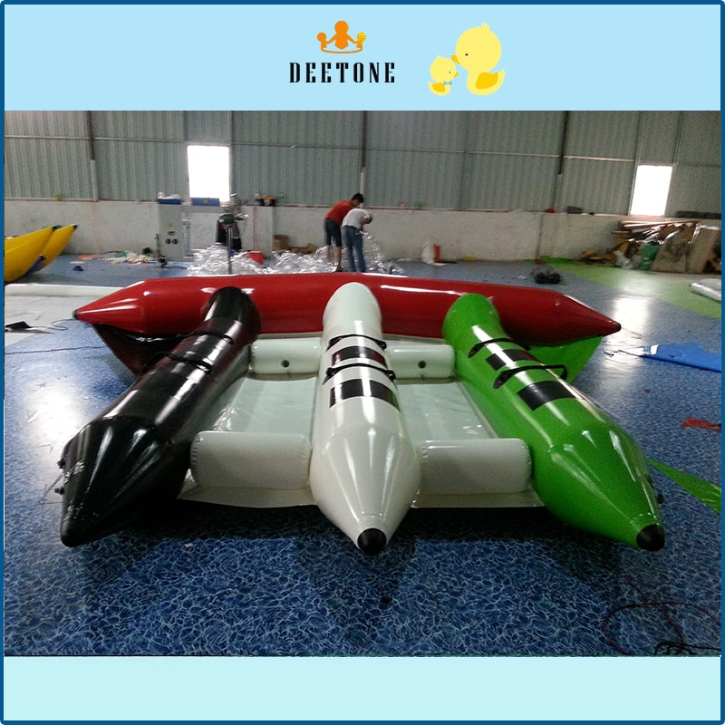 Popular water sports game 0.9mmPVC6 person seat inflatable flying fish banana boat sale