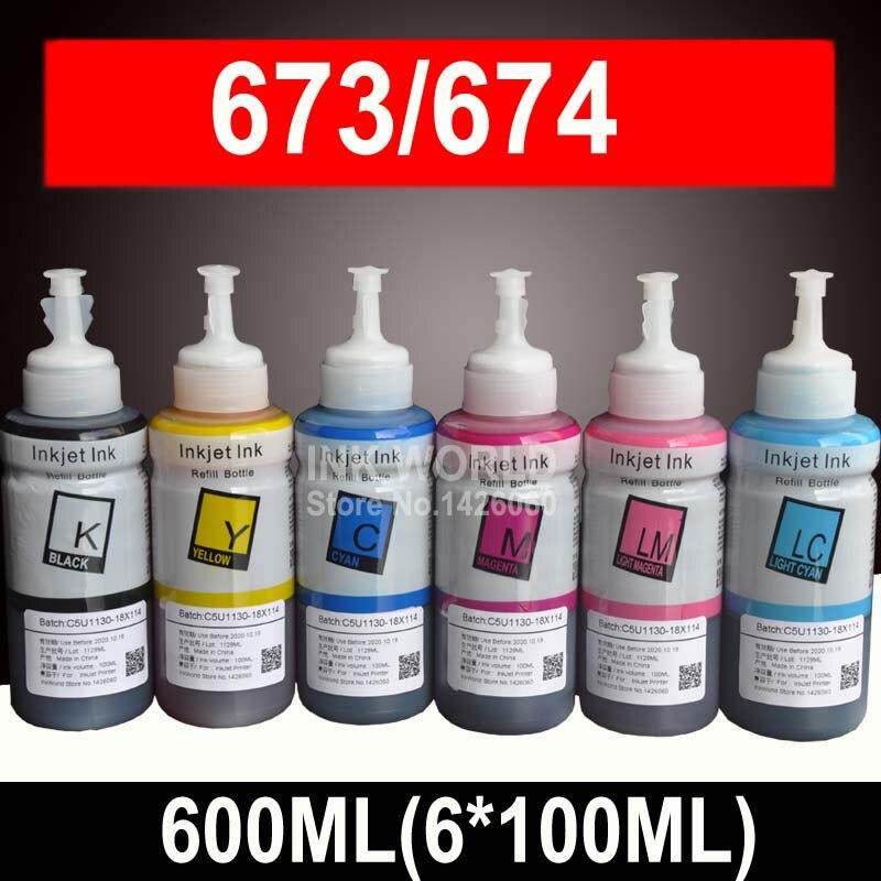 600ML Pigment Tinte Refill Kit kompatibel EPSON L800 L805 L810 L850 L1800 L351 L350 L551 drucker tinte T673 673
