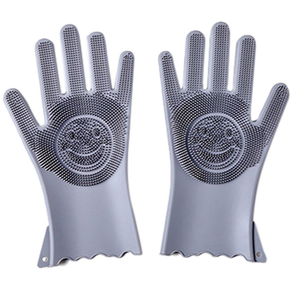 Guantes reutilizables de silicona para limpiar platos, guantes de limpieza de caucho, esponja de limpieza de calidad alimentaria, cepillos lavaplatos, guantes mágicos de silicona
