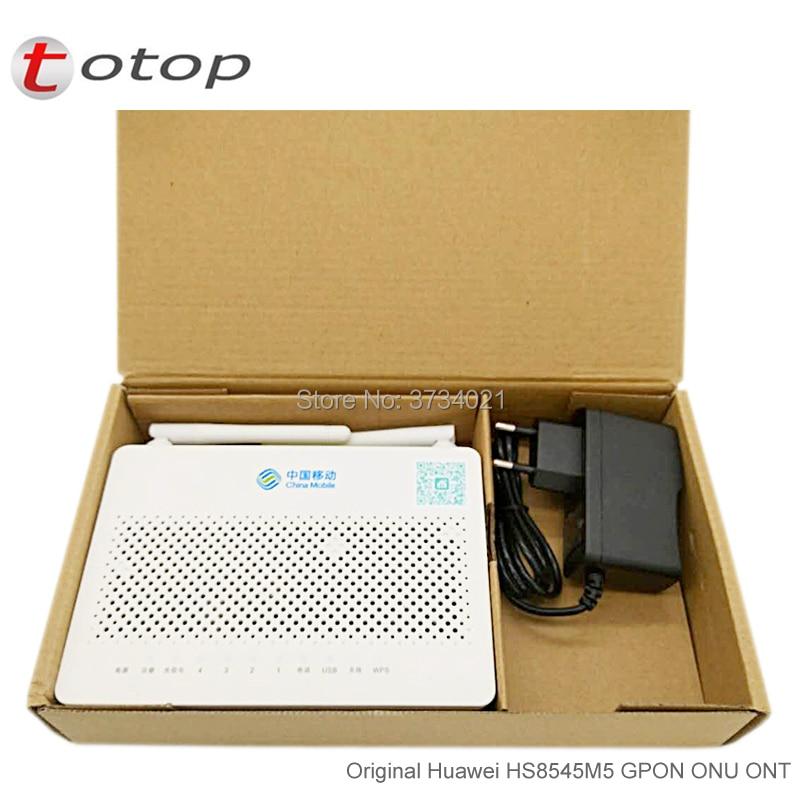 Pequeño tamaño Huawei HS8545M5 GPON ONU ONT 1GE + 3FE + 1TEL + USB + Wifi Firmware inglés con China Mobile LOGO