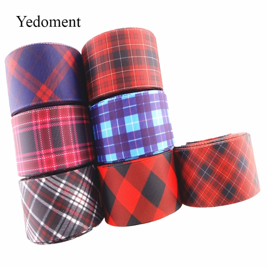 18031602,  22mm/38mm 10 yards/lot checked printed grosgrain ribbons lattice ribbon DIY handmade materials