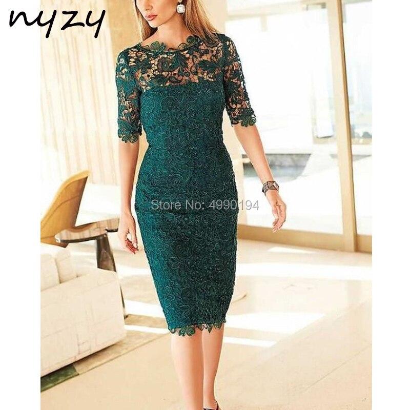 فستان أم العروس ، غمد ، نصف كم ، دانتيل ، طول الركبة ، فستان زفاف قصير ، ملابس الأم NYZY M43 ، أخضر ، 2019
