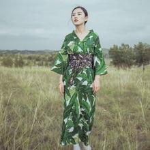 Été traditionnel japonais kimono vêtements imprimé fleuri vert kimono robe mode femmes kimono yukata obi comme cadeau H9015