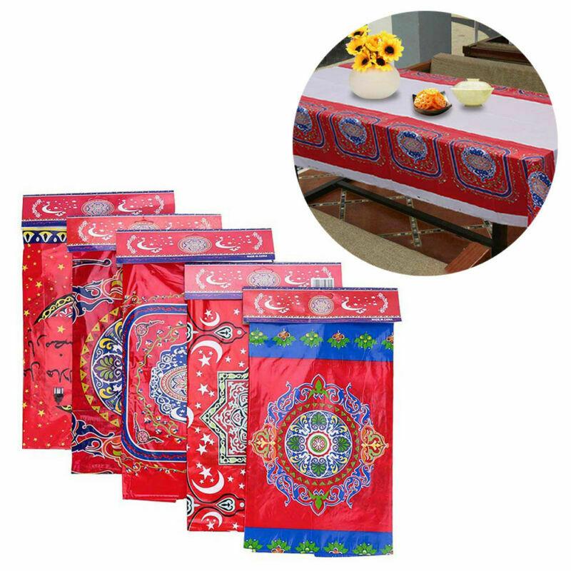 Nuevos manteles de plástico desechables Mubarak Ramadán mantel lámpara impermeable para la decoración musulmana
