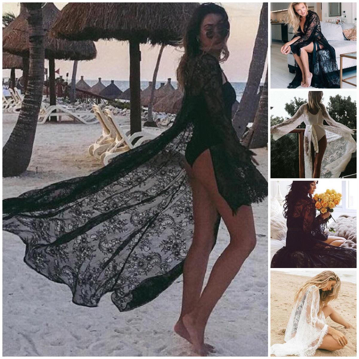 Mulheres rendas oco crochê biquíni de banho manga longa cobrir vestido de praia sarongs kaftan