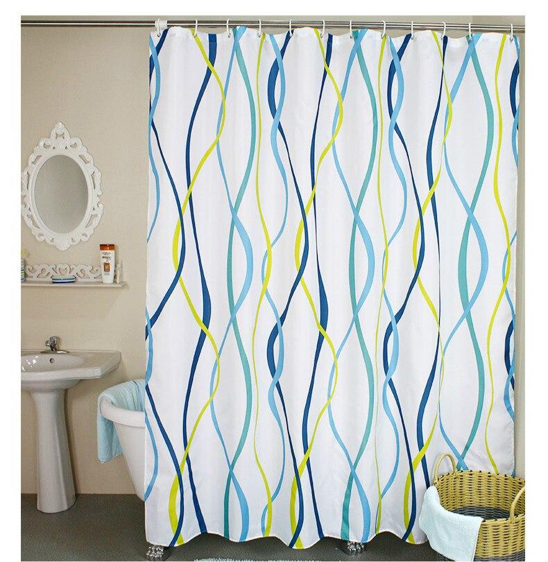 Cortina de ducha con estampado de rayas verticales onduladas de estilo moderno, cortina de ducha de partición de baño impermeable de poliéster, 180x180cm