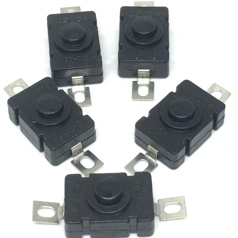 10 unids/lote KAN-28 interruptor de botón de empuje 18*12mm 1.5A/250V auto bloqueo para la linterna