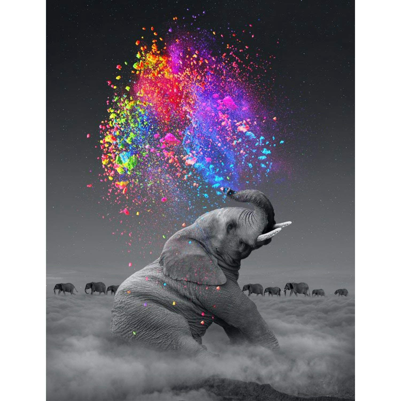 Diy 5d pintura diamante por número kit para adulto completo broca diamante bordado dotz kit casa parede Decor-30x40cm elefante