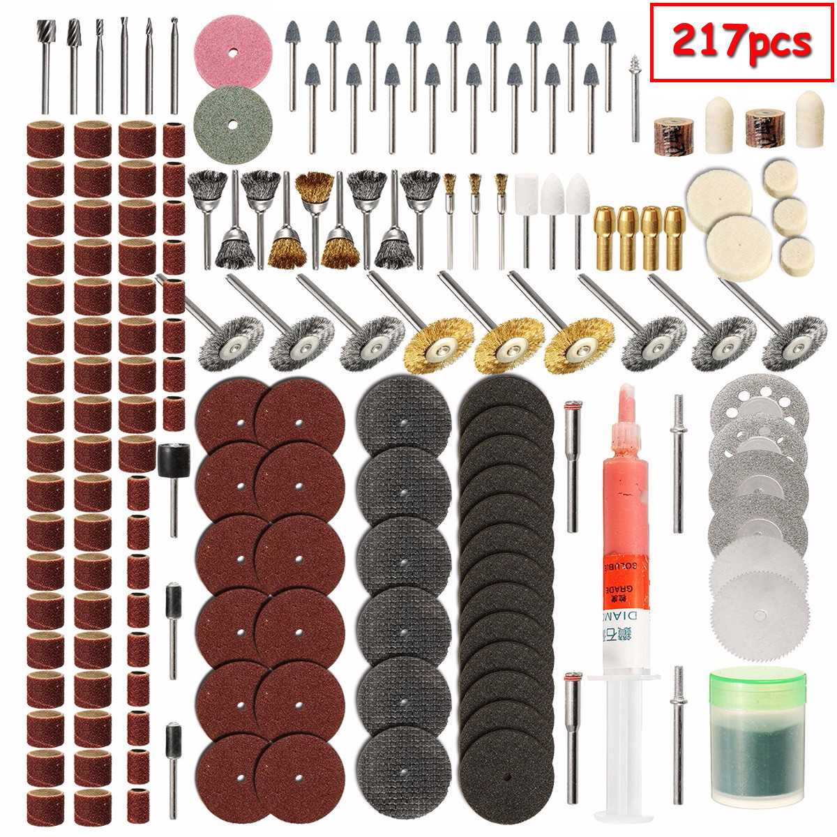 217Pcs/Set Electric Sanding Polish Accessory Bit Fits For Dremel Drill Grinding Cutting Polishing Dremel Power Tools Accessories