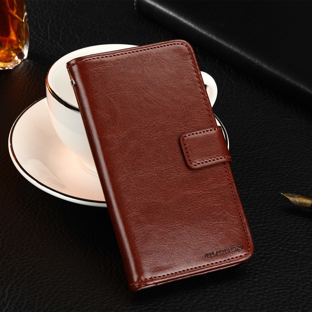 GUCOON funda tipo billetera clásica para Elephone soldado Funda de cuero PU funda con tapa Vintage para Elephone soldar funda de teléfono de moda