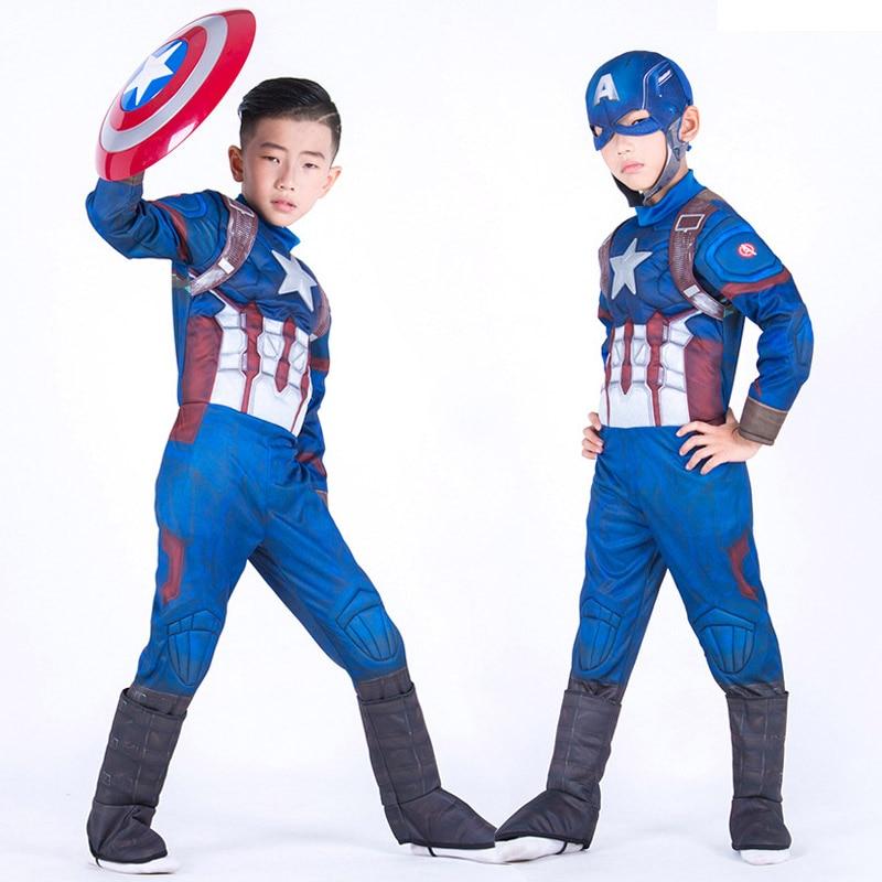 New High Quality Boy's Captain America Fantasia Fancy Dress Halloween Book Week Kid Avengers Superhero Cosplay Costume