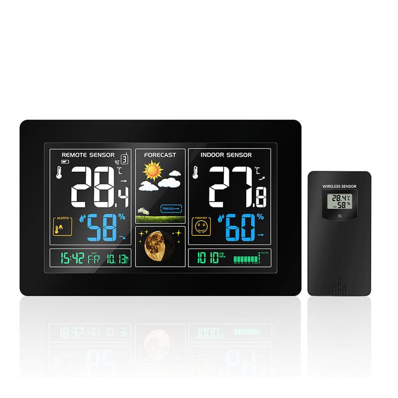 Cor Grande Ecrã Multifunções Rádio Relógio Previsão do tempo Sem Fio Alarme Eletrônico Calendário De Temperatura E Umidade