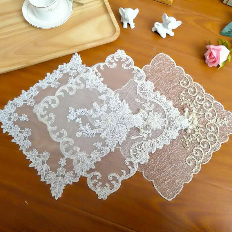 Korean Tulle Lace Embroidery Tassel Table Coaster Beaded Wedding Napkins Christmas Placemat Tea Towel Doily Kitchen Home Decor