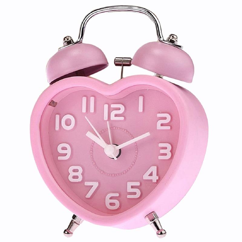 Bonito reloj despertador pequeño de doble campana de noche para niños, Mini reloj despertador de cuarzo, corazón (rosa)
