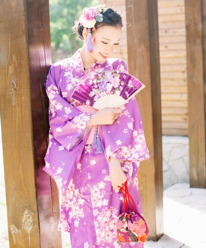 Women Japanese Traditional Costume Female Flower Kimono and obi Dress for Stage Cosplay Ladies Yukata Costume Kimono D9011