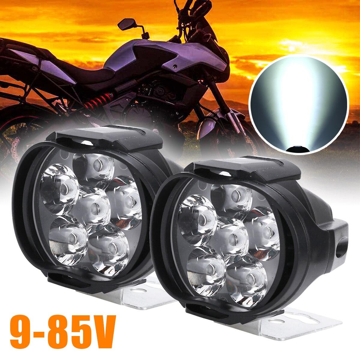 Universal 2 uds motocicleta faro Scooter luz antiniebla LED motocicleta ATV Moto trabajo cabeza lámpara blanca DRL coche faro