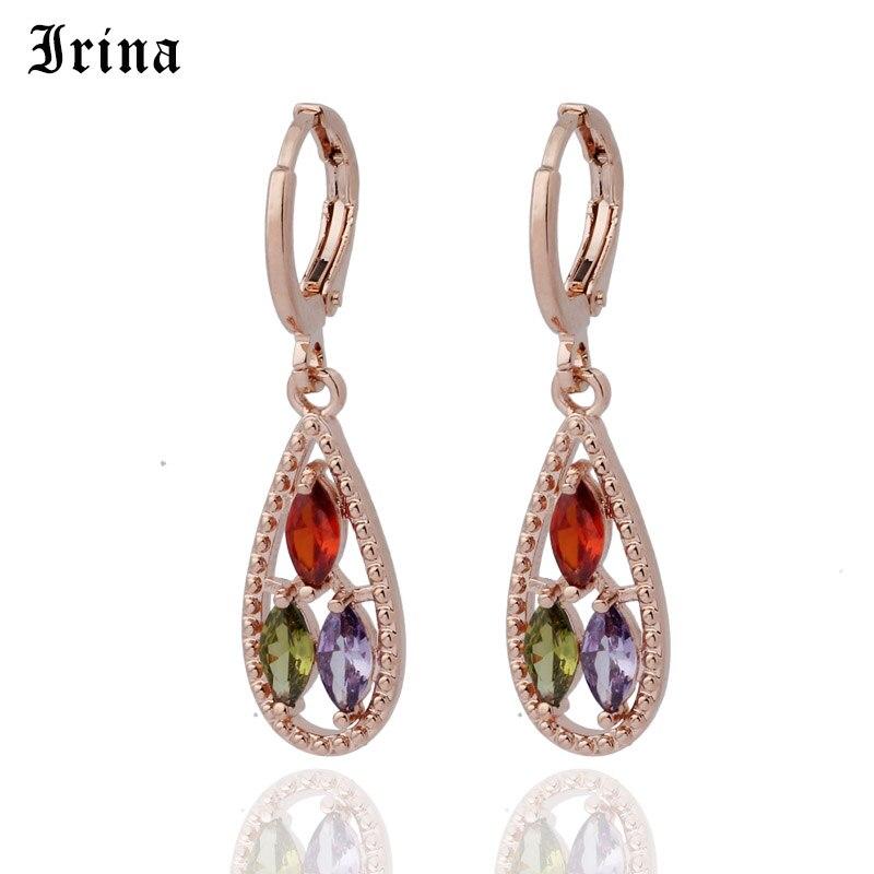 Irina 585 Horse Eye Cutting Rainbow Multicolor Cubic Zirconia Drop Earrings For Women Rose Gold Color Earring Jewelry