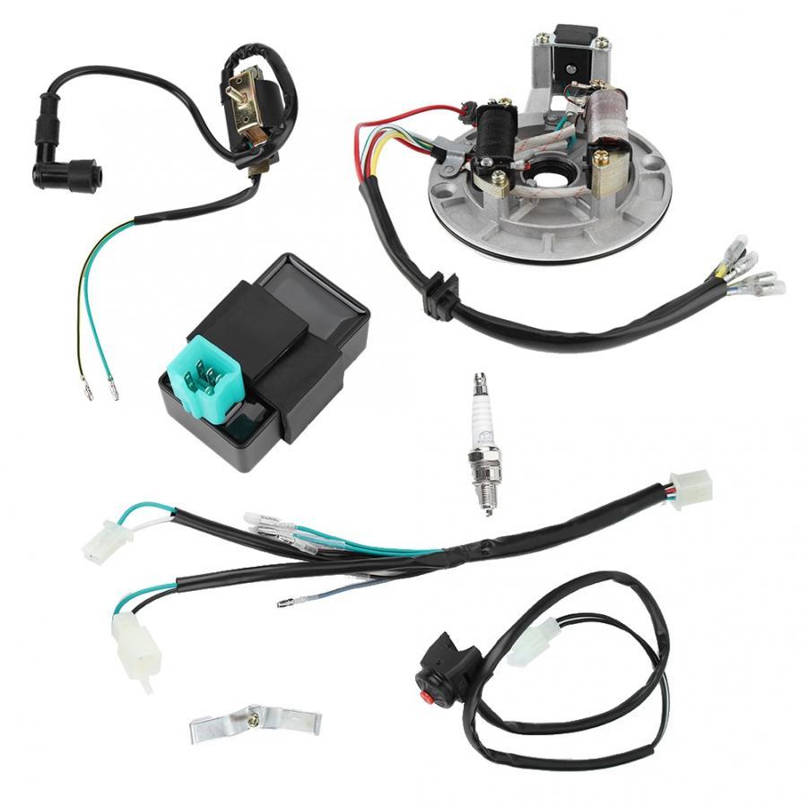 1 conjunto de cablagem elétrica kit cdi bobina ignição vela ignição para 50cc 90cc 110cc para lifan loncin ducar shineray zongshen novo