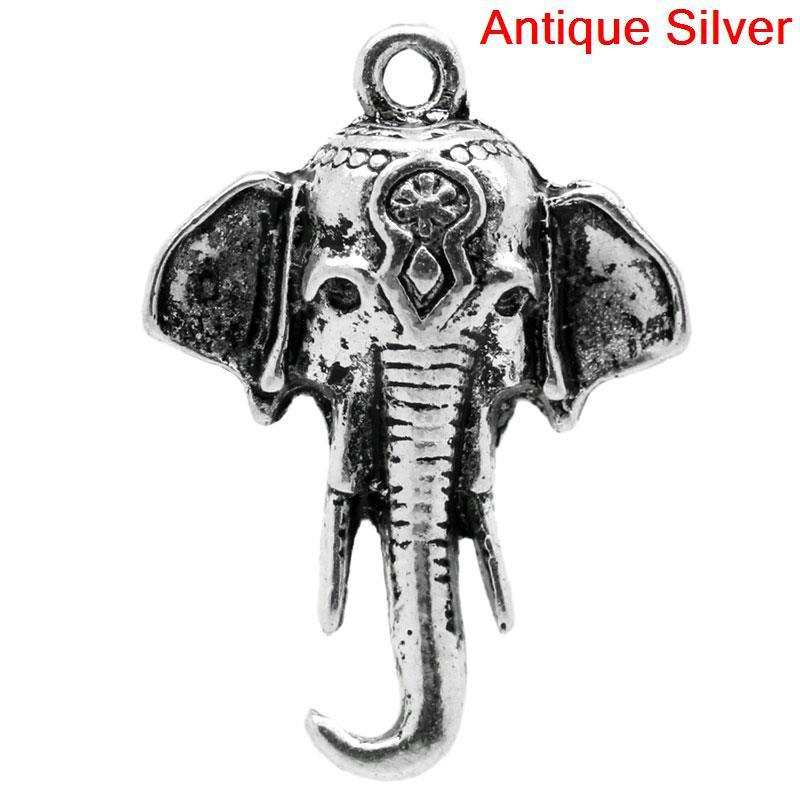 Doreenperles pendentifs à breloque tête déléphant Animal couleur argent 25x18mm, 30 pièces (B25398), yiwu