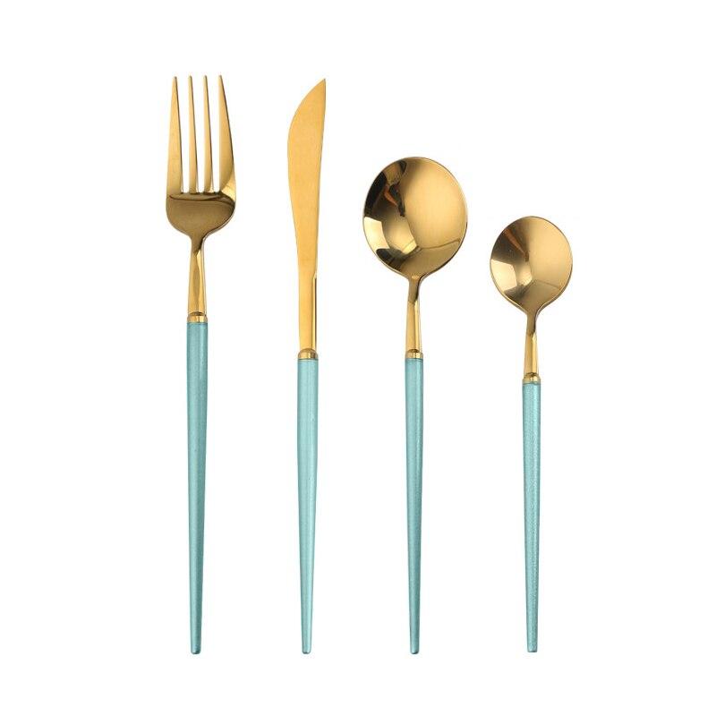 Juego de vajilla de acero inoxidable cubertería Set de vajilla de comida occidental Tenedor de lujo juego de cubiertos de cuchillos