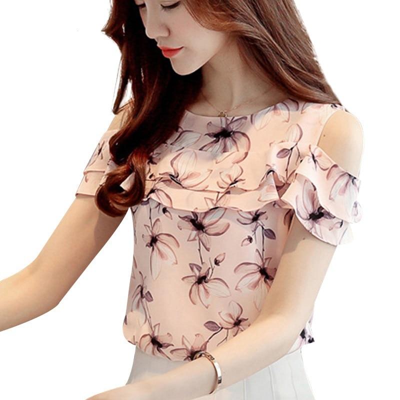 Summer 2020 New Women Shredded Chiffon Blouse Short-sleeved Shirt Lotus Leaf Edge Tops