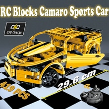 Bloc de construction technique RC Camaro sport voiture modèle bricolage jouet télécommande voitures jouets pour enfants garçons rc voitures