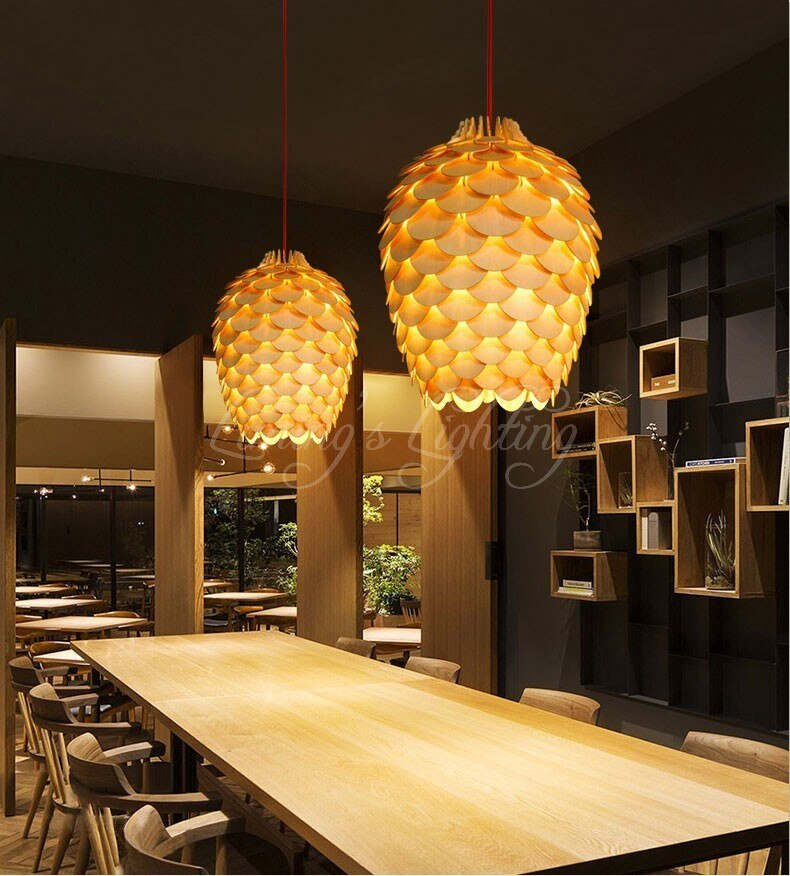 Modern Wooden Pinecone Pendant Lights Hanging Wood Lamps Bedroom Dinning Room Living Room Decoration Decor Fixtures Lighting  - buy with discount