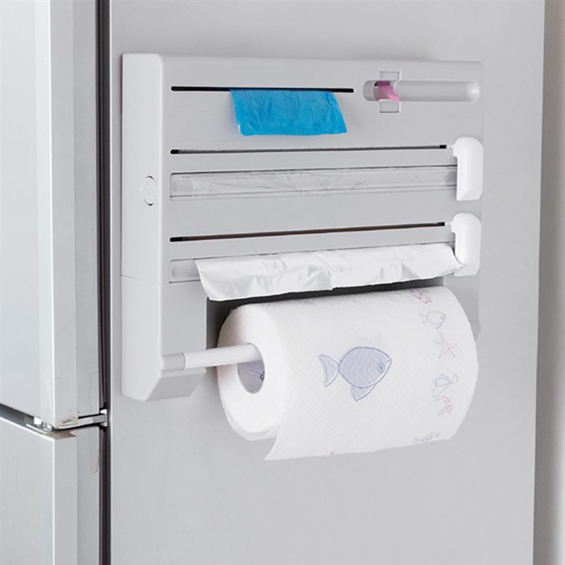 6 in 1 Multi-function Kitchen Storage Rack Tin Foil Plastic Wrapper Storage Rack Paper Towel Garbage Bag Rack (Gray)