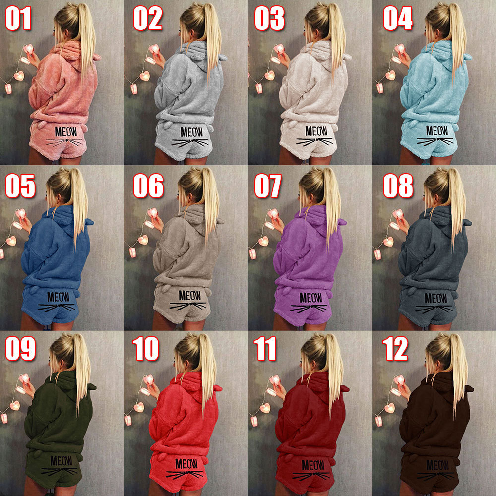 Women Pajamas Sets Autumn Winter Flannel Pijama Warm Pyjamas Homewear Nightwear Sleepwear Cat Female Pajama Plus Size S-5XL
