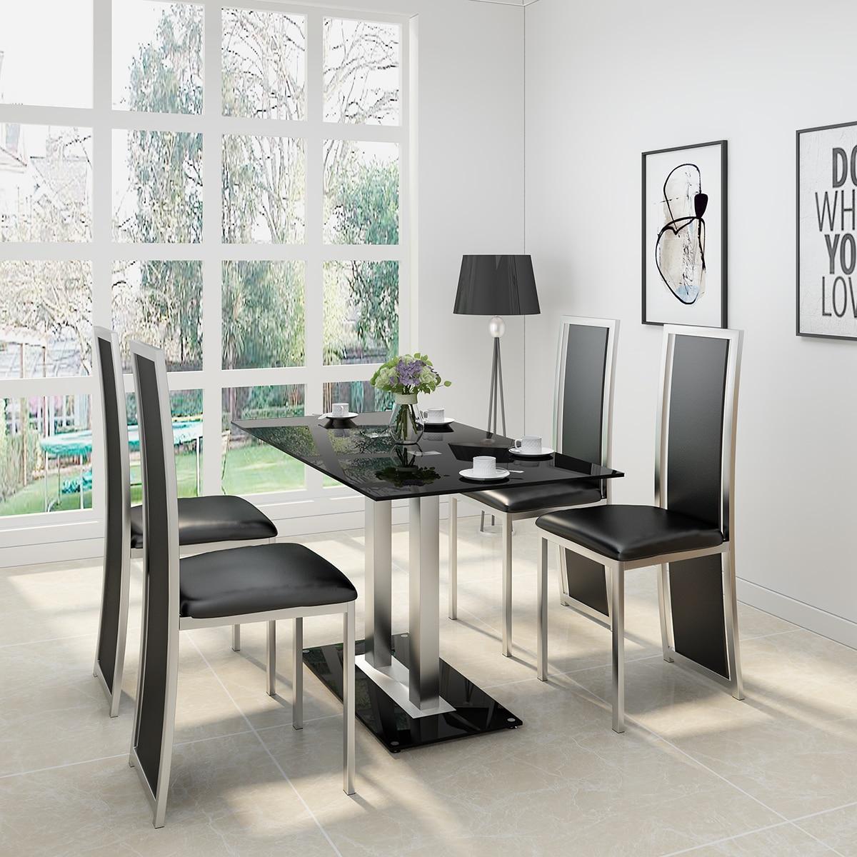 PANANA GLAS ESSTISCH SET MIT 4/ 6 FAUX LEDER STÜHLE SCHWARZ/WEIß Home Küche Möbel Schnelle versand