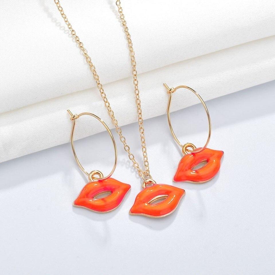 Mujeres Sexy labios rojo colgante, collar, pendiente hecho a mano juegos de joyas para mujer fiesta decoración de la joyería