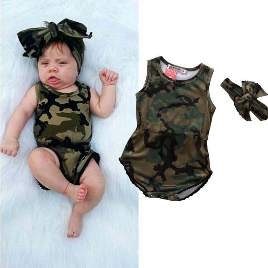 Pudcoco Mädchen Overalls AU Nettes Kind Baby Mädchen Camo Romper Overall Stirnband Kleidung 0-24 M