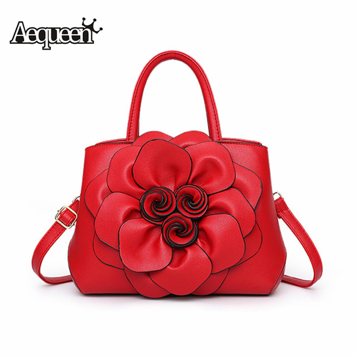 2019 Red Women Bags Luxury Handbag Female Designer Shoulder Bag Casual Shopping Tote PU Leather Hand bags Flowers Feminine Bolsa