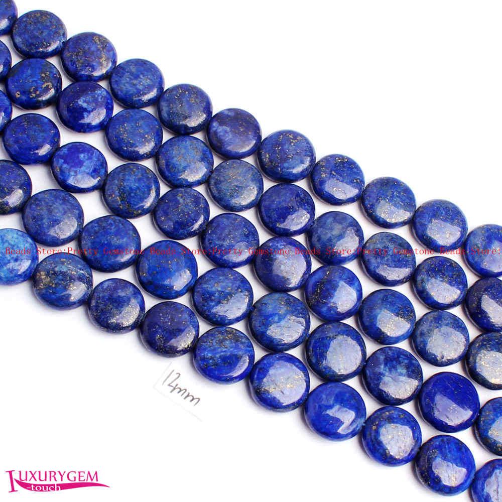 """Gran calidad, 12mm, Azul lisas, lapislázuli Natural, forma de moneda, gemas DIY, hebra de cuentas sueltas de 15 """", fabricación de joyas w4365"""
