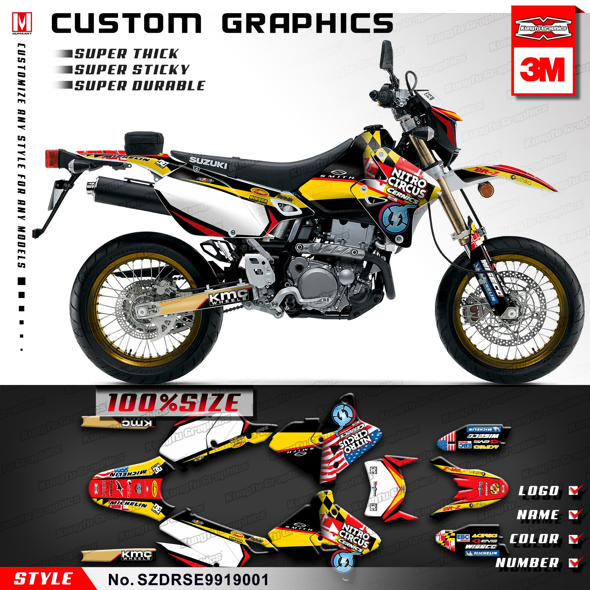 Kung Fu gráficos Motocross calcomanías de vinilo para Suzuki DRZ400SM Supermoto DRZ400E Enduro 1999-2019 (el estilo no SZDRSE9919001)