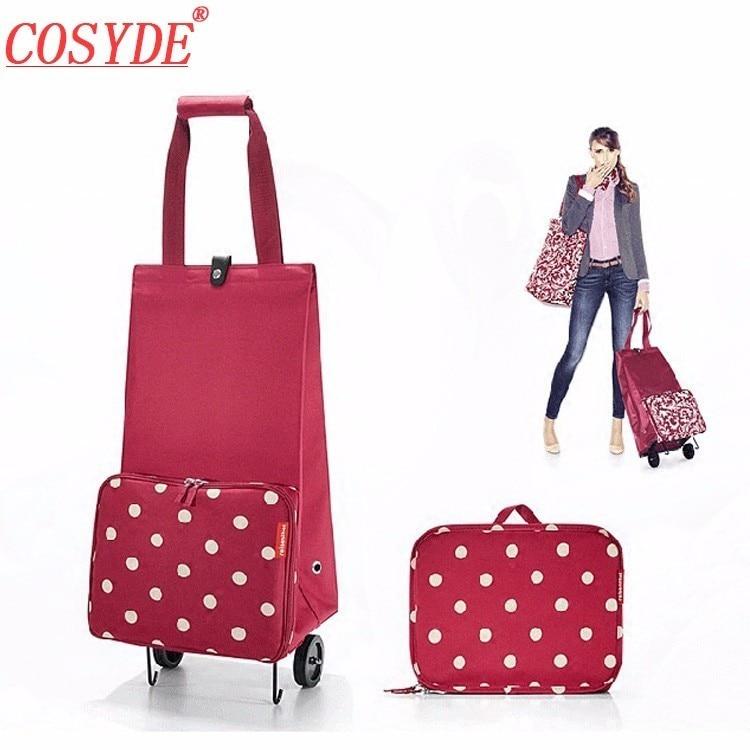 Cosyde Folding Shopping Bag Shopping Cart On Wheels Bag Small Pull Cart Women Buy Vegetables Bag Shopping Organizer Tug Package