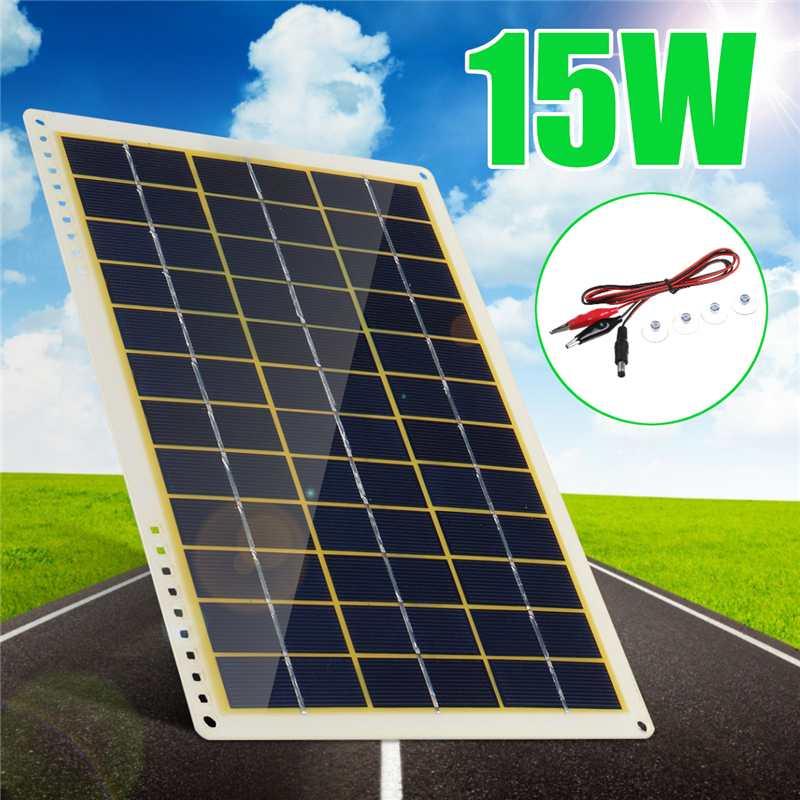 Panel Solar policristalino New15W de 12V con Clip de línea, 4X ventosas de succión para Camping al aire libre, luz de emergencia a prueba de agua