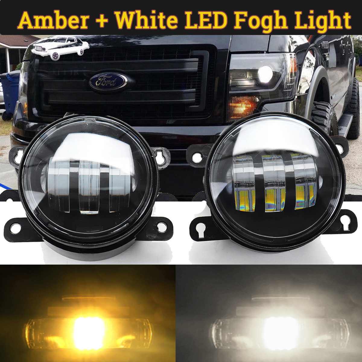 Par de luces de circulación diurna DRL para coche de 4 pulgadas, luces antiniebla LED COB impermeables de doble Color para Ford F150, Nissan, Subaru