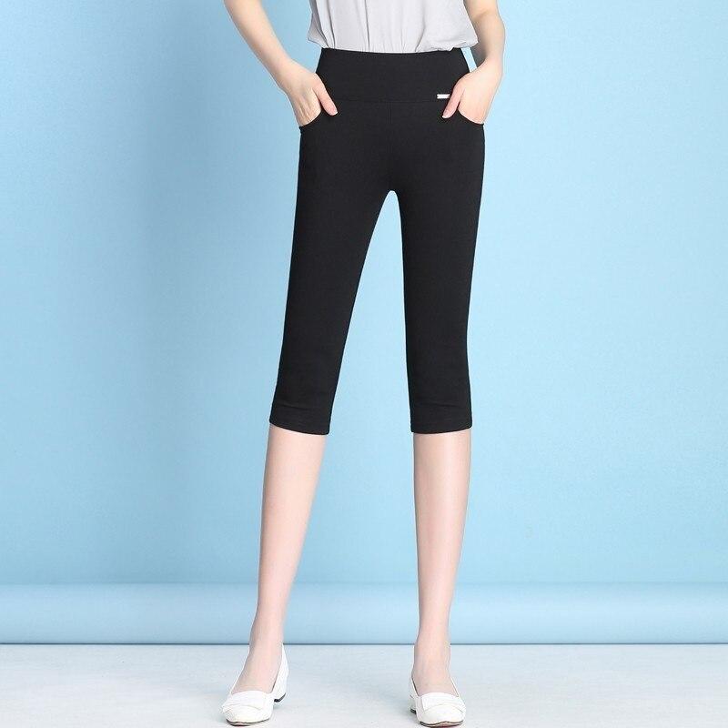 New 2019 Fashion Womens High Waist Pencil Pants Capris Female Casual Stretch Skinny Summer Calf-Length Plus Size