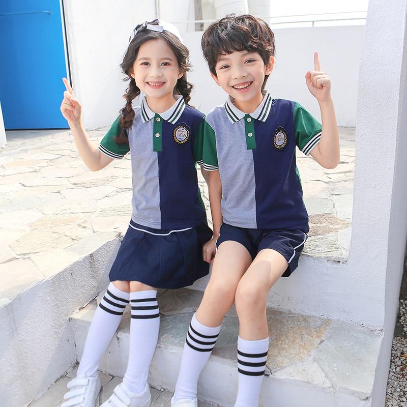 Uniformes de algodón puro estilo británico de verano para niños, uniformes de escuela secundaria, conjunto de camisa polo y falda de patchwork
